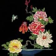 House & Garden Cover Illustration Of Peonies Art Print