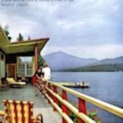 House & Garden Cover Of Women Sitting On The Deck Art Print