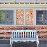 House Brick Exterior With Wood Bench Art Print
