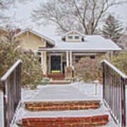 House During Winter Snowfall At Sayen Gardens Art Print