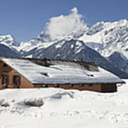 House In The Alps In Winter Art Print by Matthias Hauser