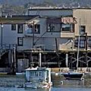 Houseboat In Monterey Harbor Art Print by Elery Oxford