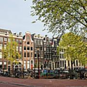 Houses On Singel Canal In Amsterdam Art Print