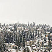 Houses On The Mountain In Winter Art Print