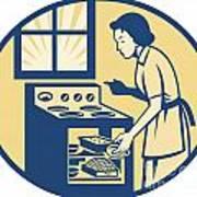 Housewife Baker Baking In Oven Stove Retro Art Print