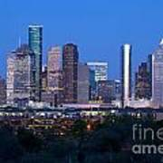 Houston Night Skyline Art Print