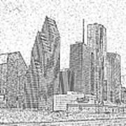 Houston Skyline Abstract Art Print