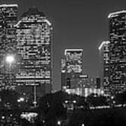 Houston Skyline At Night Black And White Bw Art Print