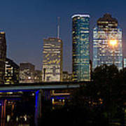 Houston Skyline At Night Art Print