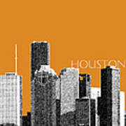 Houston Skyline - Dark Orange Art Print