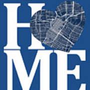 Houston Street Map Home Heart - Houston Texas Road Map In A Hear Art Print