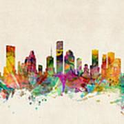 Houston Texas Skyline Art Print by Michael Tompsett