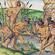 How The Indians Collect Gold From The Streams Art Print
