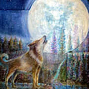 Wolf Howling And Full Moon Art Print