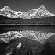 1m3643-bw-howse Peak Mt. Chephren Reflect-bw Art Print