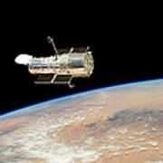 Hubble  Telescope  In  Orbit  Above  Earth Art Print