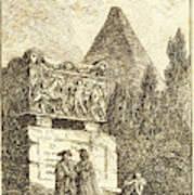 Hubert Robert, French 1733-1808, The Sarcophagus Art Print