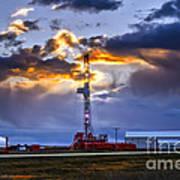 Sunset Over The Oil Rigs Art Print