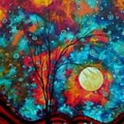 Huge Colorful Abstract Landscape Art Circles Tree Original Painting Delightful By Madart Art Print