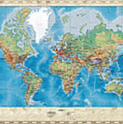 Huge hi res mercator projection physical and political relief world huge hi res mercator projection physical and political relief world map poster gumiabroncs Gallery