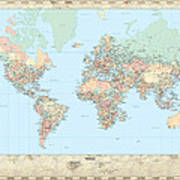 Huge hi res mercator projection political world map digital art by huge hi res mercator projection political world map poster gumiabroncs Gallery
