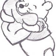 Huggable Pooh Bear Art Print