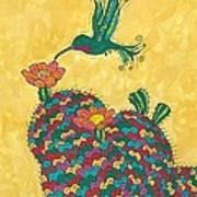 Hummingbird And Prickly Pear Art Print