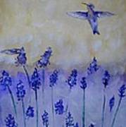 Hummingbirds Among Larkspur Art Print