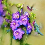 Hummingbirds Butterflies And Flowers Art Print