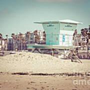 Huntington Beach Lifeguard Tower #5 Retro Picture Art Print