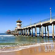 Huntington Beach Pier In Southern California Art Print by Paul Velgos