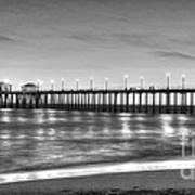Huntington Beach Pier Twilight - Black And White Art Print
