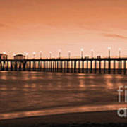 Huntington Beach Pier - Twilight Sepia Art Print by Jim Carrell