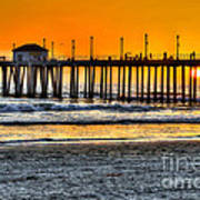 Huntington Beach Sunset Art Print by Jim Carrell