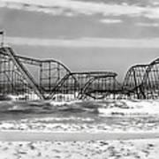 Hurricane Sandy Jetstar Roller Coaster Black And White Art Print