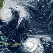 Hurricanes Maria And Jose Art Print
