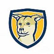 Husky Shar Pei Cross Dog Head Shield Cartoon Art Print