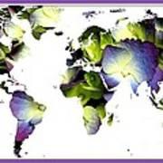 Hydrangea World Map Art Print