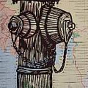 Hydrant On Map Art Print by William Cauthern