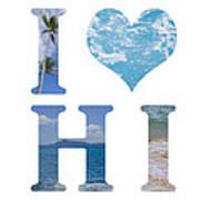 I Heart Hawaii On White Art Print