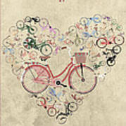 I Heart My Bike Art Print by Andy Scullion