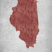 I Love Chicago Illinois - Red Art Print