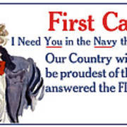 I Need You In The Navy - Uncle Sam WWI Art Print
