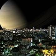 Iapetus City Saturn Art Print