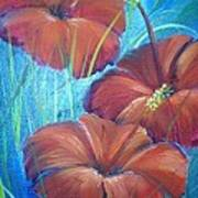 Ibiscos Del Corazon Art Print