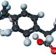 Ibuprofen, Molecular Model Art Print