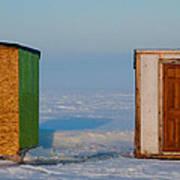 Ice Fishing Huts Canada Macro Art Print