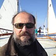 Ice Sailing On The Hudson Beard Contest Art Print