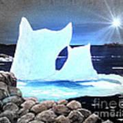 Icebergs At Sunset Art Print