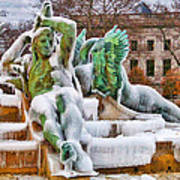 Iced Swann Fountain Art Print